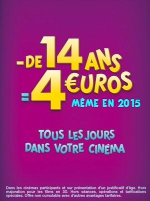 4 EUROS MOINS DE 14 ANS